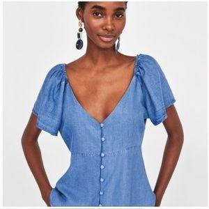 Zara Size M Lyocell Button Down Top